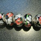 Murano Glass Bead 925 Silver fits Pandora & Troll S300 Black Clear w/ Orange & White Flowers