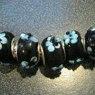 Murano Glass Bead 925 Silver fits Pandora & Troll S302 Black Solid w/ Blue Raised Flower