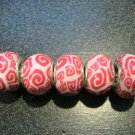 Fimo Bead fits Pandora & Troll S308 Red & White