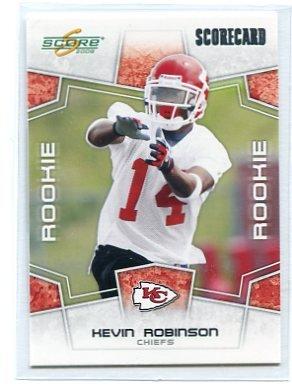 KEVIN ROBINSON 2008 Score SCORECARD #417 ROOKIE KC Chiefs #d/649
