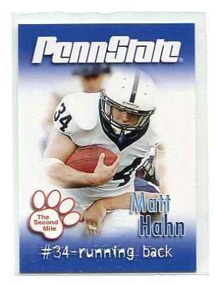 MATT HAHN 2007 Penn State Second Mile College card FB
