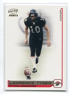 LAWRENCE TYNES 2003 Pacific #70 ROOKIE New York NY Giants KICKER