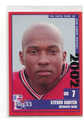 STEVEN GUNTER 2002 Big 33 Ohio High School card INDIANA Hoosiers