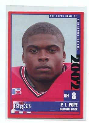 P.J. PJ POPE 2002 Big 33 Ohio High School card BOWLING GREEN Chicago Bears SEC