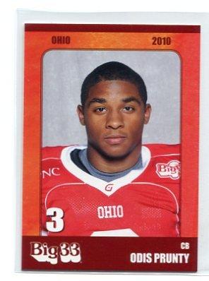 ODIS PRUNTY 2010 Big 33 Ohio High School card BALL STATE CB
