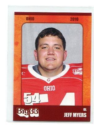 JEFF MYERS 2010 Big 33 Ohio High School card TOLEDO OL