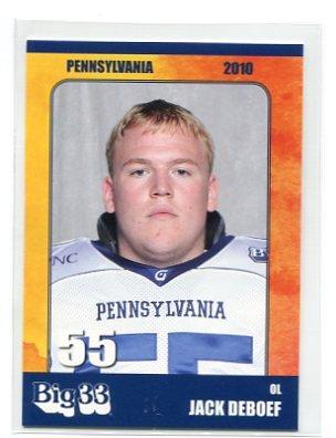 JACK DEBOEF 2010 Big 33 Pennsylvania High School card PURDUE Boilermakers OL