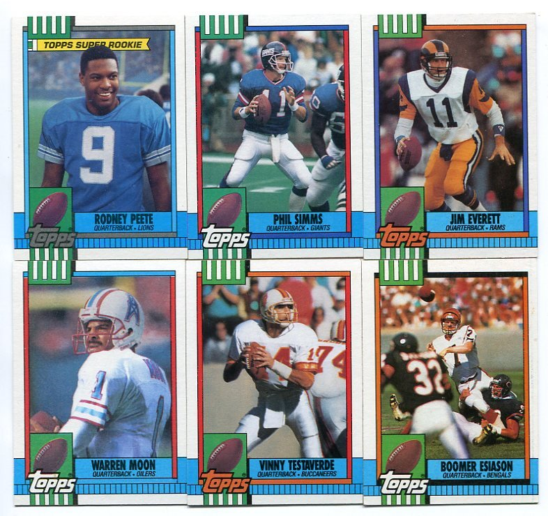 (6) Assorted 1990 Topps QB lot w/ ROOKIE