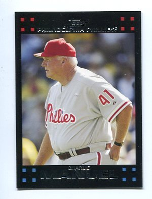 MANAGER COACH CHARLIE MANUEL 2007 Topps #251 Philadelphia Phillies