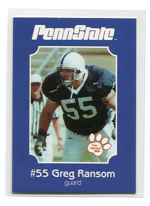 GREG RANSOM 2001 Penn State Second Mile College Card GUARD