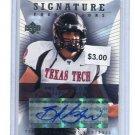 B.J. BJ SYMONS 2004 Upper Deck UD Signature Foundations AUTO ROOKIE Texas Tech Red Raiders TEXANS QB