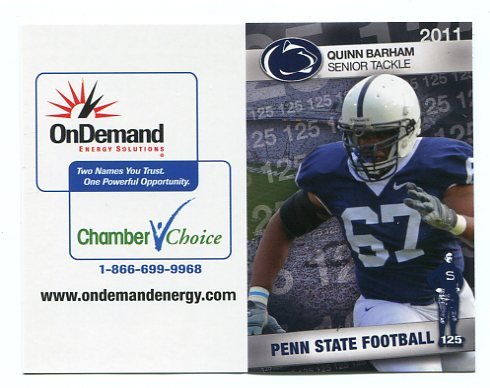 QUINN BARHAM 2011 Penn State Football Schedule FULL SIZED
