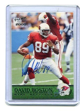 DAVID BOSTON 2000 Pacific #2 AUTO Arizona Cardinals OHIO STATE Buckeyes w/ COA