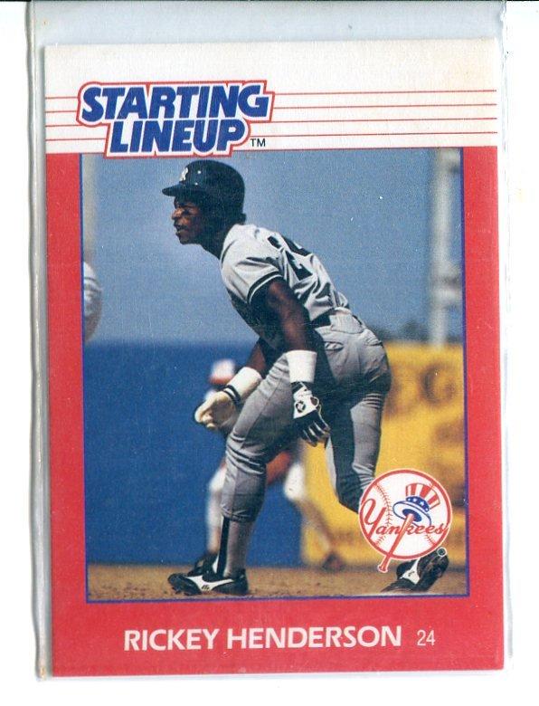 RICKEY HENDERSON 1988 Starting Line-Up SLU Card New York NY Yankees