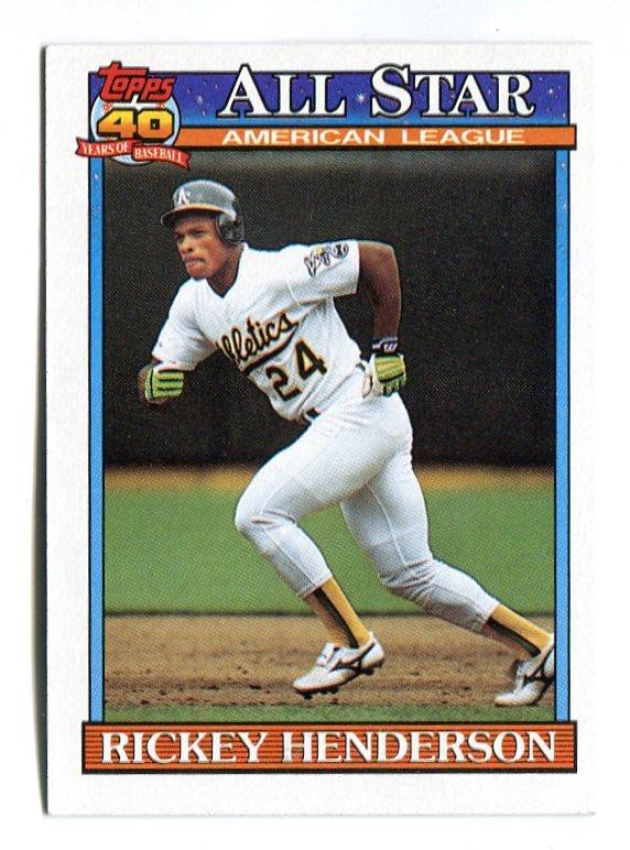 RICKEY HENDERSON 1991 Topps All-Star #391 Oakland A's