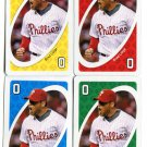 (4) BRAD LIDGE 2010 Uno Card Game CARD 0 all color PHILLIES