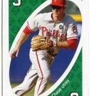 CHASE UTLEY 2010 Uno Card Game GREEN-3 Philadelphia Phillies