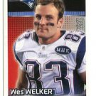 WES WELKER 2012 Panini Sticker #35 Patriots TEXAS TECH Red Raiders