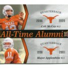 COLT McCOY / MAJOR APPLEWHITE 2011 UD College Football Legends All-Time Alumni INSERT Longhorns QB