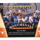 MAJOR APPLEWHITE 2011 UD College Football Legends Monumental Moments #92 Texas Longhorns QB