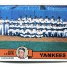 Manager Coach BOB LEMON 1979 Topps Team Card TC #626 New York NY Yankees