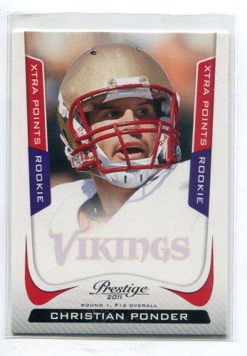 CHRISTIAN PONDER 2011 Panini Prestige XTRA POINTS SP #219 ROOKIE Vikings FLORIDA STATE QB #d/100