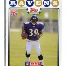 RAY RICE 2008 Topps Kickoff #184 ROOKIE Baltimore Ravens RUTGERS
