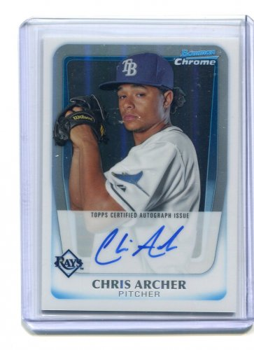 CHRIS ARCHER 2011 Bowman Chrome REFRACTOR AUTO Rookie CUBS Tampa Rays #d/500