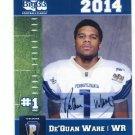 De'QUAN WARE 2014 Pennsylvania PA Big 33 High School card