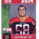JAKE HAWK 2014 Maryland MD Big 33 High School card NAVY