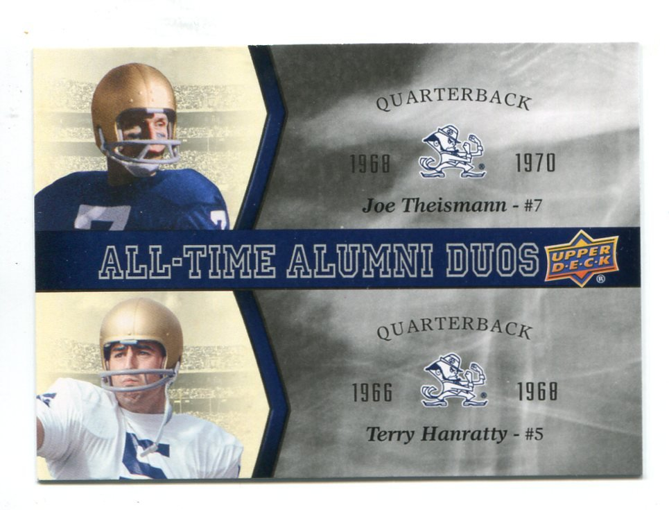 JOE THEISMAN / TERRY HANRATTY Upper Deck Collectible All-Time Alumni Duos INSERT Notre Dame QB