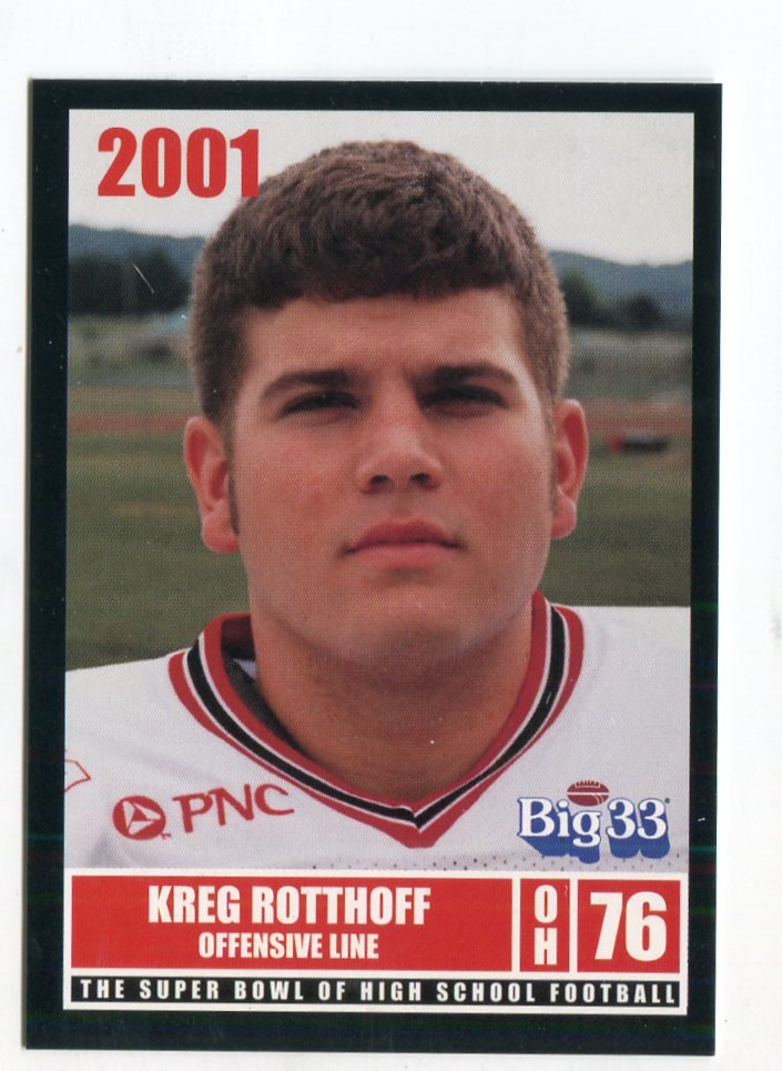KREG ROTTHOFF 2001 Big 33 Ohio OH card WAKE FOREST OL