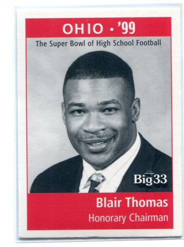 BLAIR THOMAS 1998 Big 33 Ohio OH High School Honorary Chairman PENN STATE NY Jets