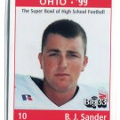 B.J. BJ SANDER 1998 Big 33 Ohio OH High School card OHIO STATE Buckeyes