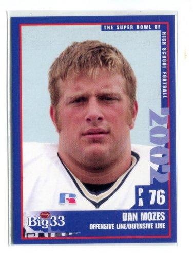 DAN MOZES 2002 Big 33 Pennsylvania PA High School card WEST VIRGINIA Mountaineers