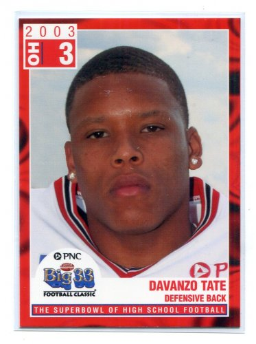DAVANZO TATE 2003 Big 33 Ohio OH High School card WEST VIRGINIA Mountaineers