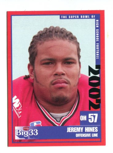 JEREMY HINES 2002 Big 33 Ohio OH High School card WEST VIRGINIA Mountaineers