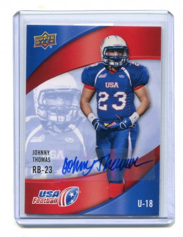 JOHN JOHNNY JOHNATHAN THOMAS 2013 Upper Deck UD USA Football AUTO #50 Penn State Nittany Lions RB