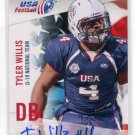 TYLER WILLIS 2012 Upper Deck UD USA Football AUTO Indiana Hoosiers DB