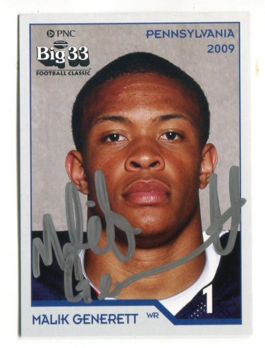 MALIK GENERETT 2009 Big 33 Pennsylvania High School card AUTO Autograph UCONN Huskies B
