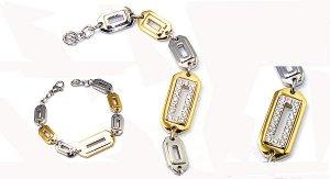 stainless steel charm bracelet with rhinestone women jewelry stainless steel