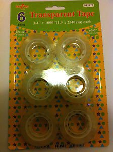 """Transparent office home  all purpose tape 6 rolls 1000"""" each clear glossy Finish"""