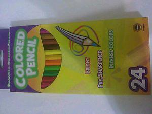 24 pcs colored pencils smooth and brilliant colors 3mm