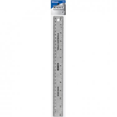 Stainlesss Steel Ruler 12 Inch With Non Skid Protecting Surface.