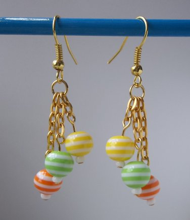Yellow, orange, green and white striped small beaded gold tone dangle earrings