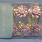 Lilac Flower Shower Curtain Hooks