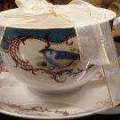 Grace Teaware Scallop Navy Set 2 Teacups & Saucers