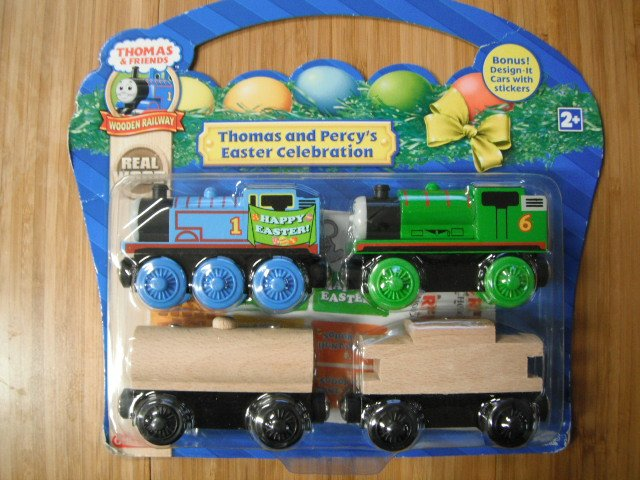 Thomas the Tank & Percy's Easter Celebration Real Wood Train Car Engine Set