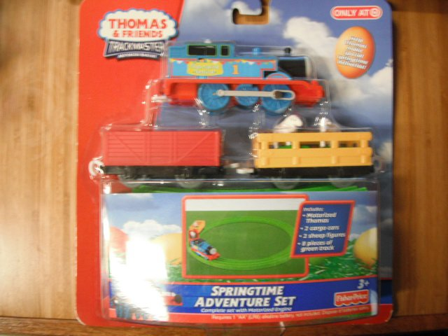 Thomas the Tank Trackmaster Motorized Springtime Easter Adventure Set Train Car Engine Set