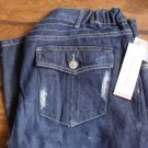 Liz Lange Denim Distressed Style Straight Leg Maternity Jeans Size 12